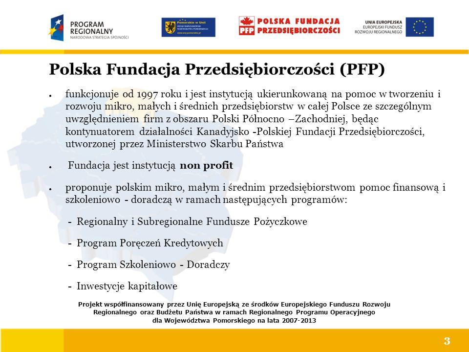 Polska Fundacja Przedsiębiorczości (PFP) ● funkcjonuje od 1997 roku i jest instytucją ukierunkowaną na pomoc w tworzeniu i rozwoju mikro, małych i śre
