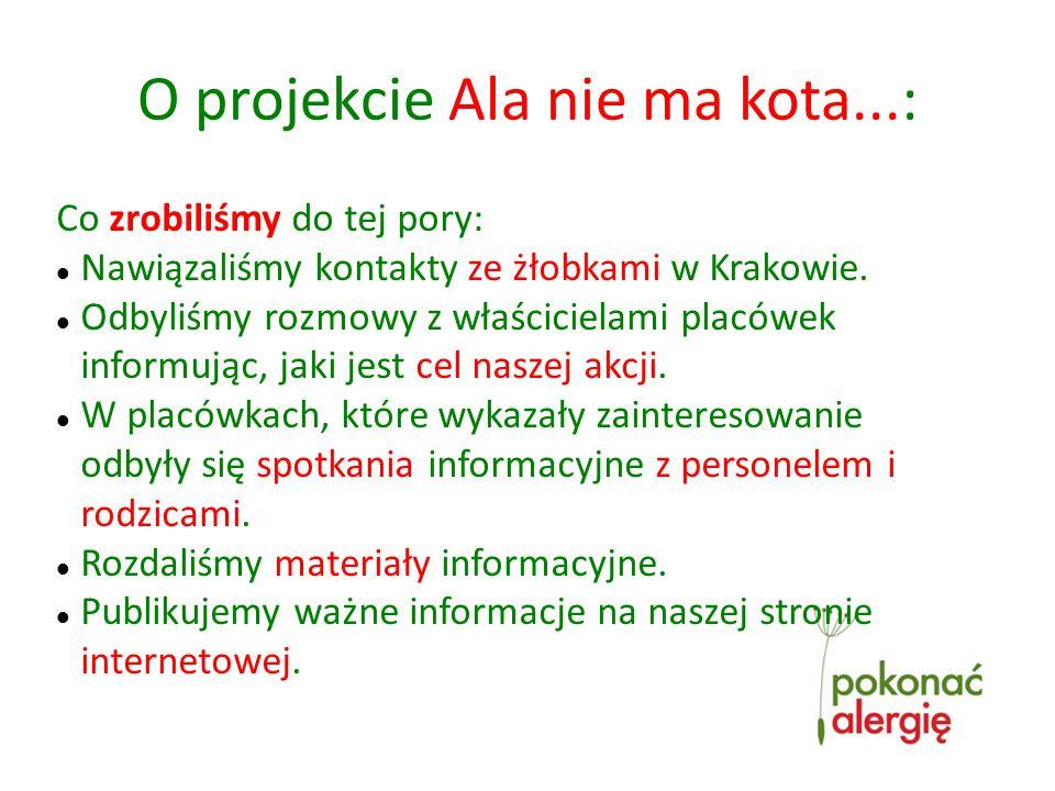 Co zrobiliśmy do tej pory: Nawiązaliśmy kontakty ze żłobkami w Krakowie.