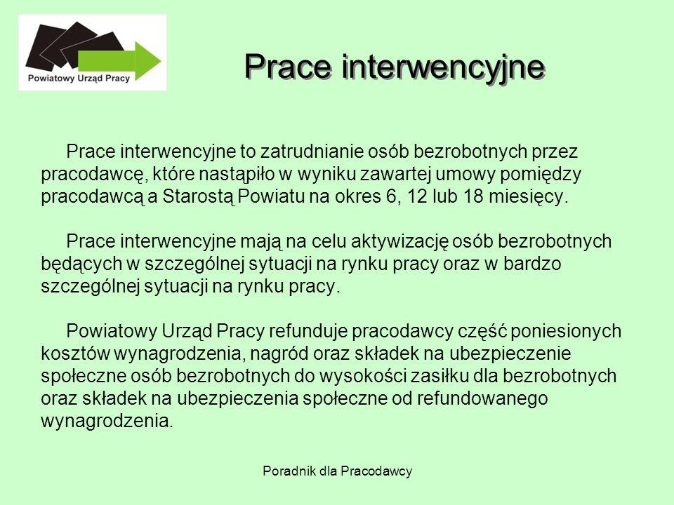 Poradnik dla Pracodawcy Prace interwencyjne Prace interwencyjne to zatrudnianie osób bezrobotnych przez pracodawcę, które nastąpiło w wyniku zawartej