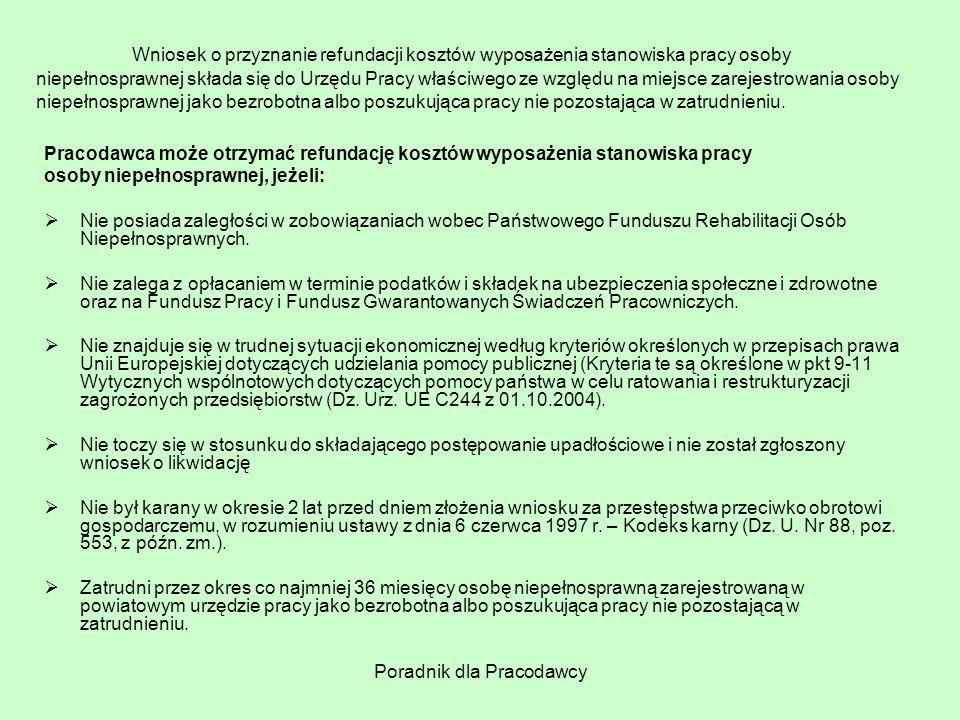 Poradnik dla Pracodawcy Wniosek o przyznanie refundacji kosztów wyposażenia stanowiska pracy osoby niepełnosprawnej składa się do Urzędu Pracy właściw