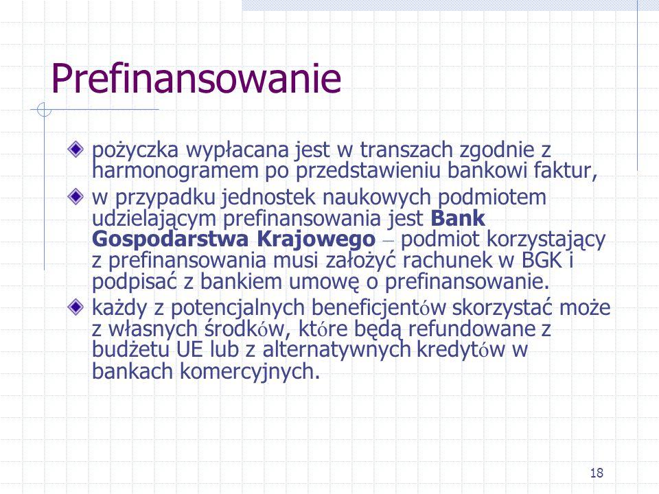 18 Prefinansowanie pożyczka wypłacana jest w transzach zgodnie z harmonogramem po przedstawieniu bankowi faktur, w przypadku jednostek naukowych podmiotem udzielającym prefinansowania jest Bank Gospodarstwa Krajowego – podmiot korzystający z prefinansowania musi założyć rachunek w BGK i podpisać z bankiem umowę o prefinansowanie.