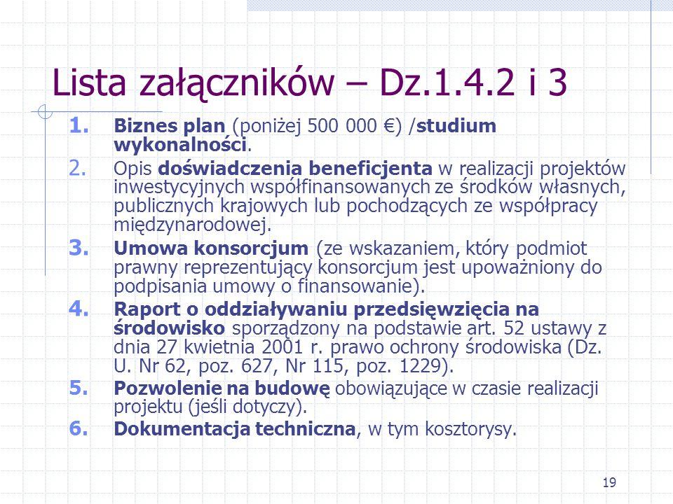 19 Lista załączników – Dz.1.4.2 i 3 1. Biznes plan (poniżej 500 000 €) /studium wykonalności.