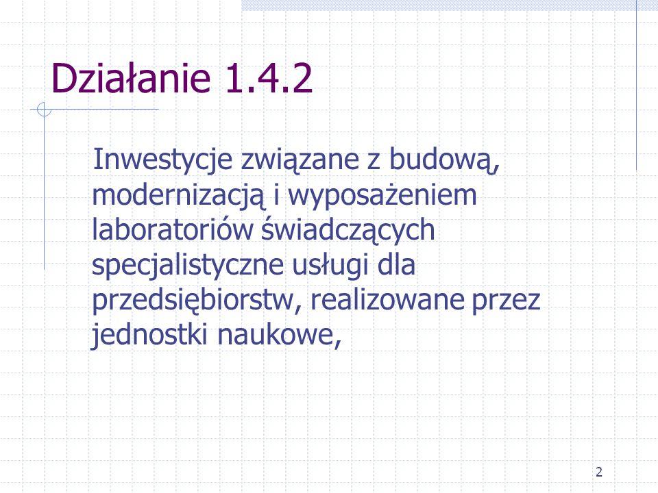 2 Działanie 1.4.2 Inwestycje związane z budową, modernizacją i wyposażeniem laboratoriów świadczących specjalistyczne usługi dla przedsiębiorstw, realizowane przez jednostki naukowe,