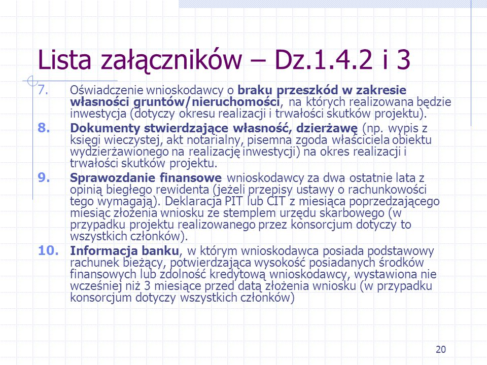 20 Lista załączników – Dz.1.4.2 i 3 7.