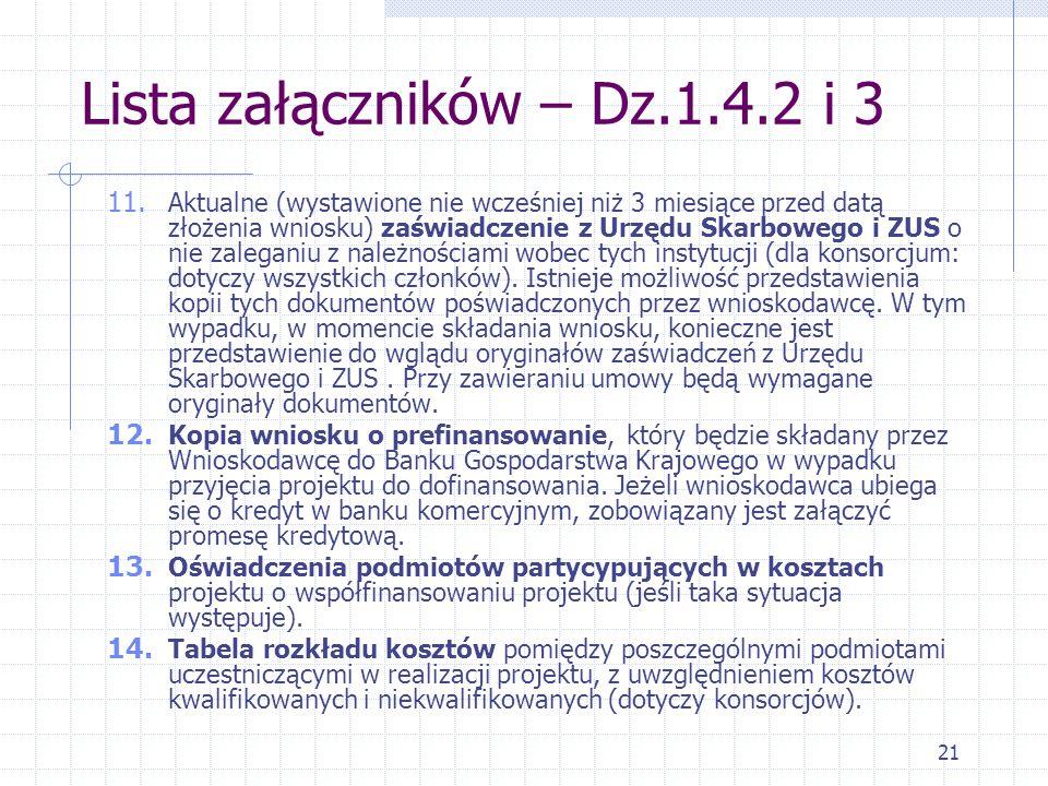 21 Lista załączników – Dz.1.4.2 i 3 11.
