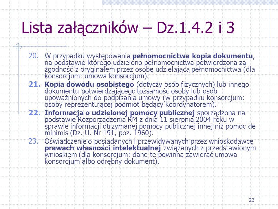 23 Lista załączników – Dz.1.4.2 i 3 20.