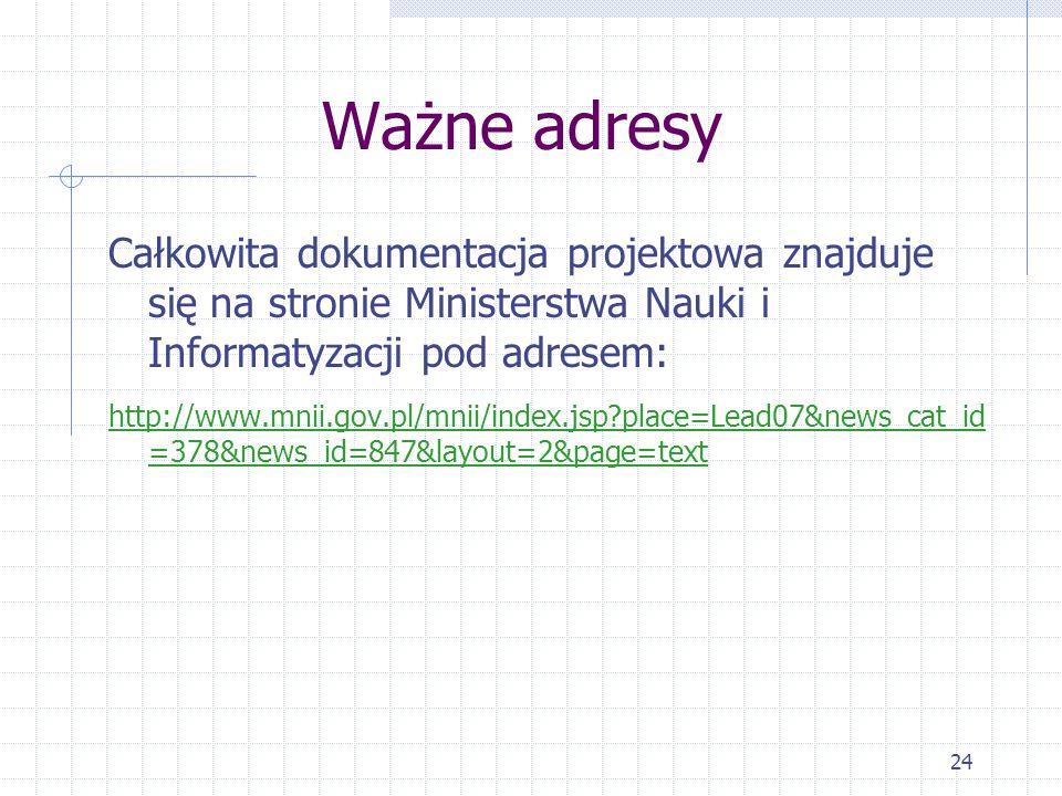 24 Ważne adresy Całkowita dokumentacja projektowa znajduje się na stronie Ministerstwa Nauki i Informatyzacji pod adresem: http://www.mnii.gov.pl/mnii/index.jsp place=Lead07&news_cat_id =378&news_id=847&layout=2&page=text
