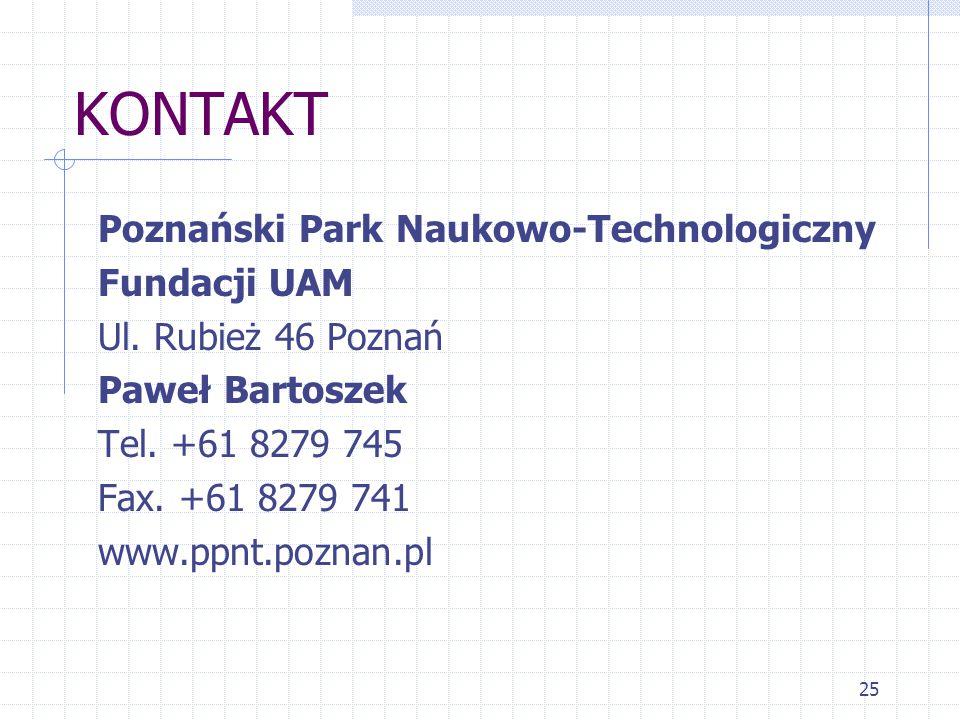 25 KONTAKT Poznański Park Naukowo-Technologiczny Fundacji UAM Ul.