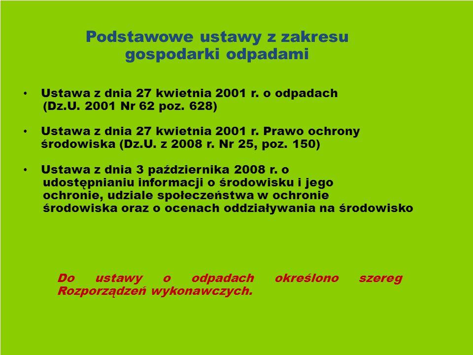 Podstawowe ustawy z zakresu gospodarki odpadami Ustawa z dnia 27 kwietnia 2001 r.