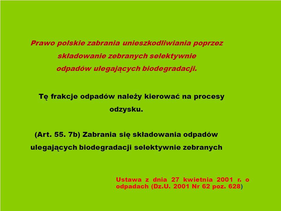 Prawo polskie zabrania unieszkodliwiania poprzez składowanie zebranych selektywnie odpadów ulegających biodegradacji.