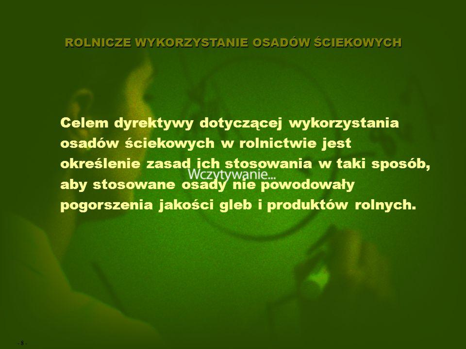 - 28 - ROLNICZE WYKORZYSTANIE OSADÓW ŚCIEKOWYCH Wykonywanie analiz: Okręgowe Stacje Chemiczno-Rolnicze (17) IUNG w Puławach WIOŚ IMUZ Falenty (woda, gleba) Instytut Ogrodnictwa w Skierniewicach IOŚ Warszawa IL Sękocin