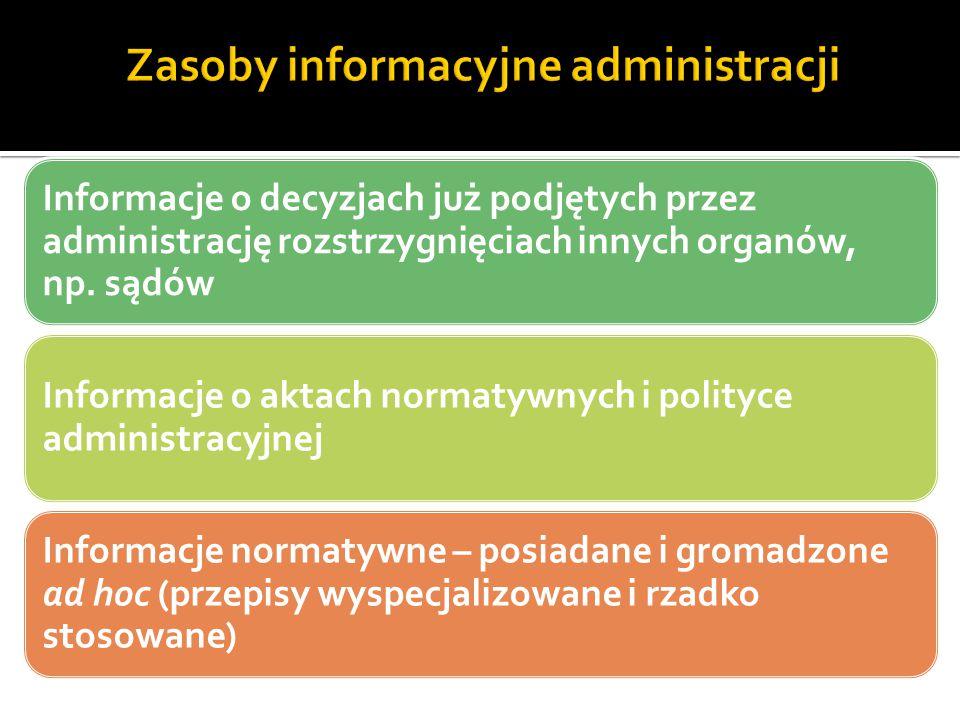 Informacje o decyzjach już podjętych przez administrację rozstrzygnięciach innych organów, np. sądów Informacje o aktach normatywnych i polityce admin