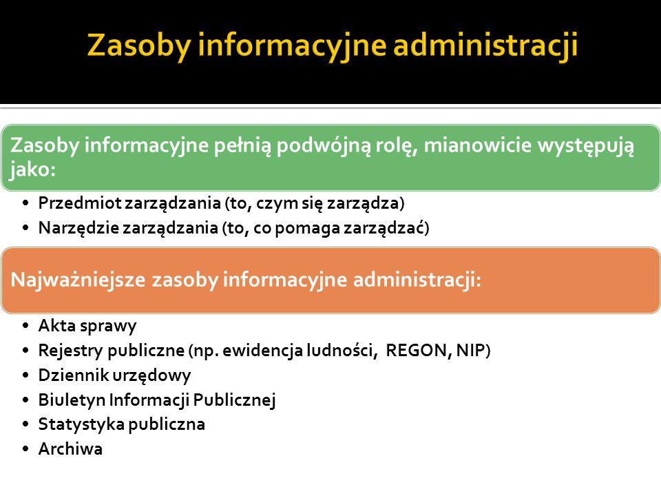 Zasoby informacyjne pełnią podwójną rolę, mianowicie występują jako: Przedmiot zarządzania (to, czym się zarządza) Narzędzie zarządzania (to, co pomag