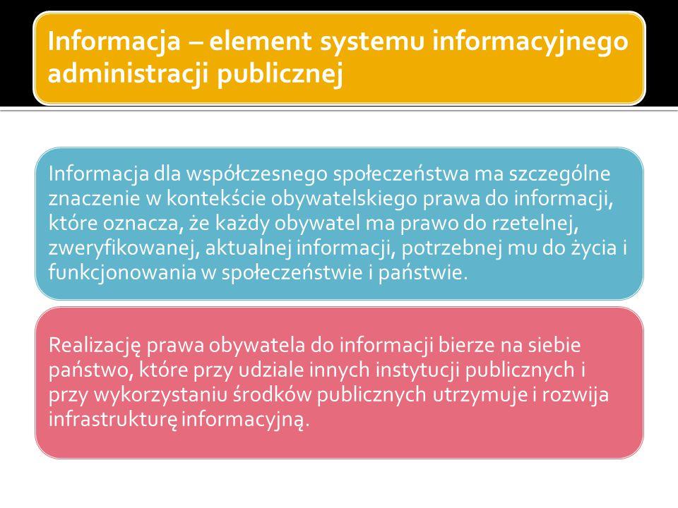Informacja – element systemu informacyjnego administracji publicznej Informacja dla współczesnego społeczeństwa ma szczególne znaczenie w kontekście o