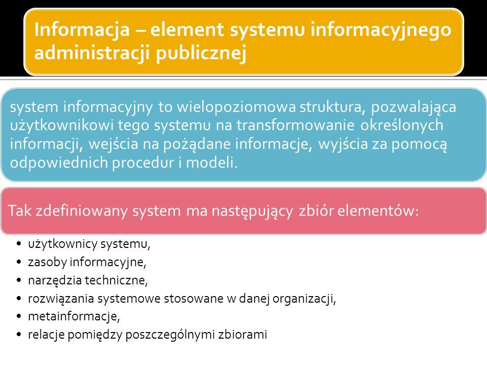 Informacja – element systemu informacyjnego administracji publicznej system informacyjny to wielopoziomowa struktura, pozwalająca użytkownikowi tego s