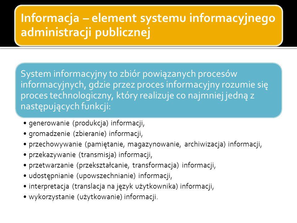 Informacja – element systemu informacyjnego administracji publicznej System informacyjny to zbiór powiązanych procesów informacyjnych, gdzie przez pro