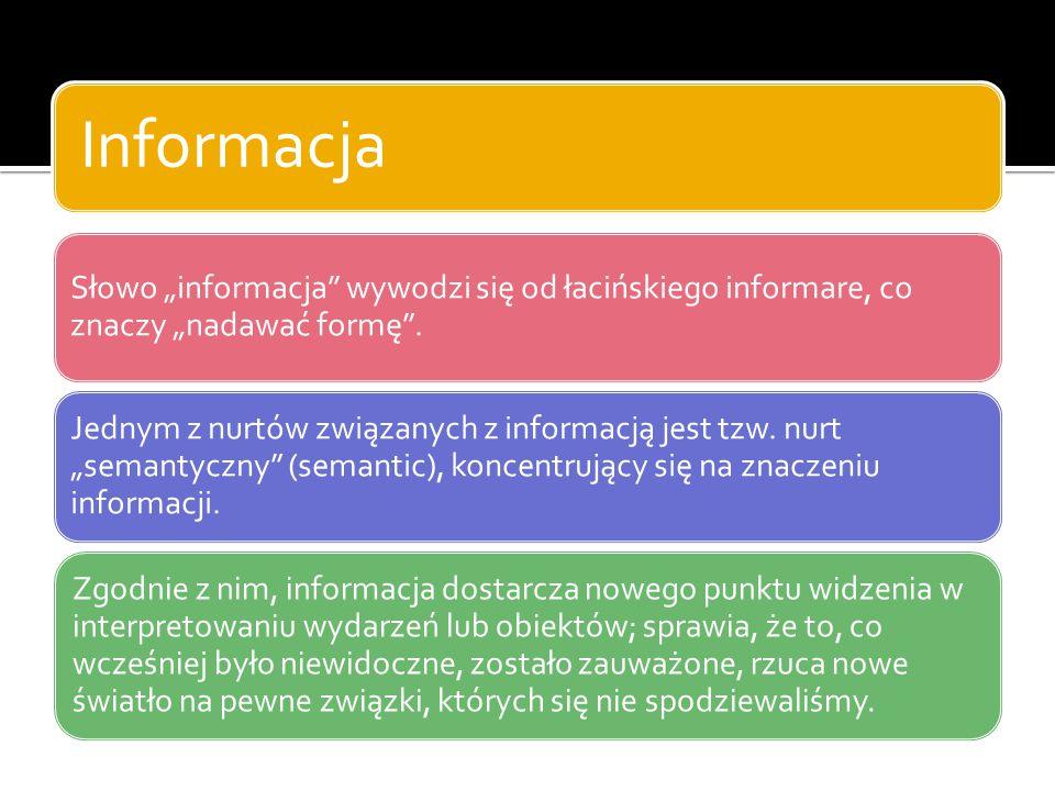 """Informacja Słowo """"informacja"""" wywodzi się od łacińskiego informare, co znaczy """"nadawać formę"""". Jednym z nurtów związanych z informacją jest tzw. nurt"""