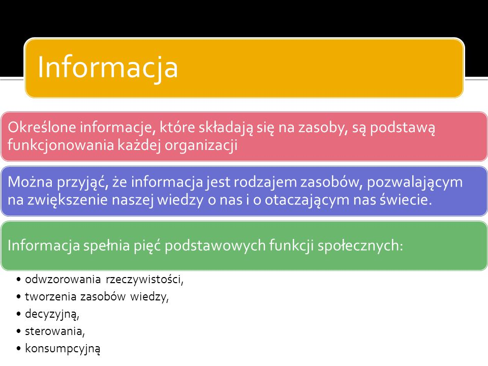 Informacja Określone informacje, które składają się na zasoby, są podstawą funkcjonowania każdej organizacji Można przyjąć, że informacja jest rodzaje