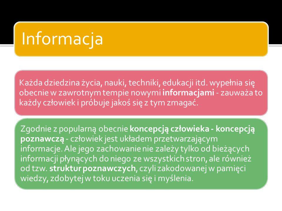 Informacja a dane Często zamiennie stosuje się pojęcia informacje i dane.