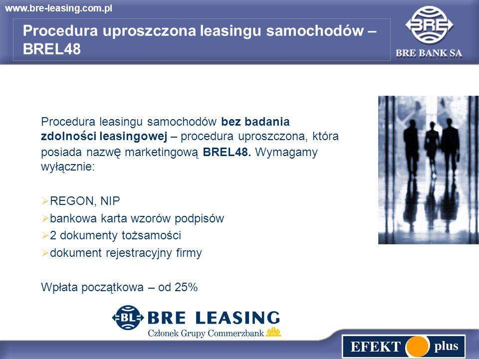 www.bre-leasing.com.pl Procedura leasingu samochodów bez badania zdolności leasingowej – procedura uproszczona, która posiada nazw ę marketingową BREL48.