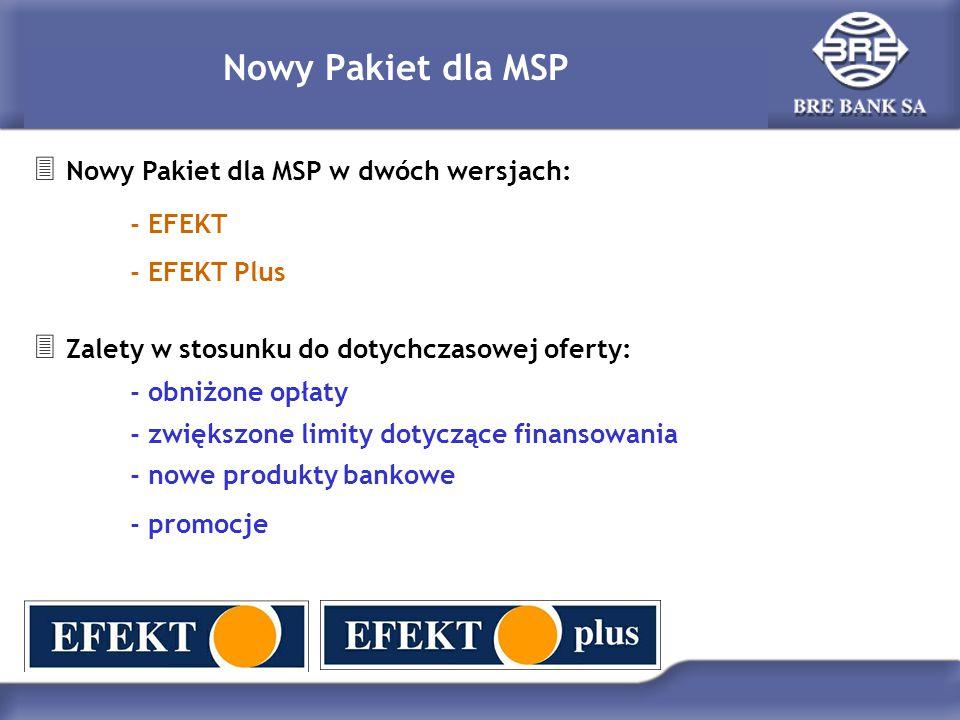 Nowy Pakiet dla MSP  Nowy Pakiet dla MSP w dwóch wersjach: - EFEKT - EFEKT Plus  Zalety w stosunku do dotychczasowej oferty: - obniżone opłaty - zwiększone limity dotyczące finansowania - nowe produkty bankowe - promocje