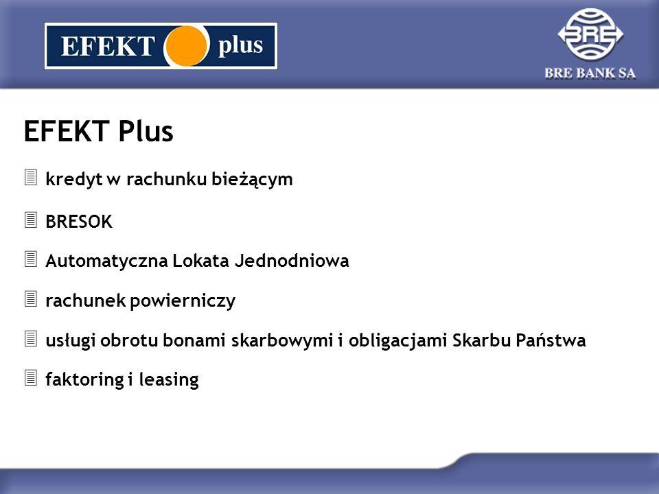 EFEKT Plus  kredyt w rachunku bieżącym  BRESOK  Automatyczna Lokata Jednodniowa  rachunek powierniczy  usługi obrotu bonami skarbowymi i obligacj