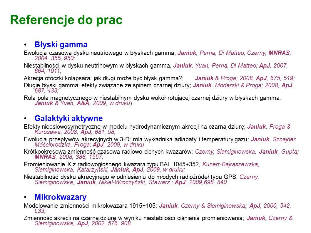 Referencje do prac Błyski gamma Ewolucja czasowa dysku neutriowego w błyskach gamma; Janiuk, Perna, Di Matteo, Czerny, MNRAS, 2004, 355, 950; Niestabilności w dysku neutrinowym w błyskach gamma, Janiuk, Yuan, Perna, Di Matteo; ApJ, 2007, 664; 1011; Akrecja otoczki kolapsara: jak długi może być błysk gamma?; Janiuk & Proga; 2008, ApJ, 675, 519; Długie błyski gamma: efekty związane ze spinem czarnej dziury; Janiuk, Moderski & Proga; 2008, ApJ, 687, 433; Rola pola magnetycznego w niestabilnym dysku wokół rotującej czarnej dziury w błyskach gamma, Janiuk & Yuan, A&A, 2009, w druku) Galaktyki aktywne Efekty nieosiowosymetryczne w modelu hydrodynamicznym akrecji na czarną dziurę; Janiuk, Proga & Kurosawa; 2008, ApJ, 681, 58; Ewolucja przepływów akrecyjnych w 3-D: rola wykładnika adiabaty i temperatury gazu; Janiuk, Sznajder, Mościbrodzka, Proga; ApJ, 2009, w druku Krótkookresowa zmienność czasowa radiowo cichych kwazarów; Czerny, Siemiginowska, Janiuk, Gupta; MNRAS, 2008, 386, 1557; Promieniowanie X z radiowogłośnego kwazara typu BAL 1045+352, Kunert-Bajraszewska, Siemiginowska, Katarzyński, Janiuk, ApJ, 2009, w druku; Niestabilność dysku akrecyjnego w odniesieniu do młodych radioźródeł typu GPS; Czerny, Siemiginowska, Janiuk, Nikiel-Wroczyński, Stawarz ; ApJ, 2009,698, 840 Mikrokwazary Modelowanie zmienności mikrokwazara 1915+105; Janiuk, Czerny & Siemiginowska; ApJ, 2000, 542, L33; Zmienność akrecji na czarną dziurę w wyniku niestabilości ciśnienia promieniowania; Janiuk, Czerny & Siemiginowska; ApJ, 2002, 576, 908