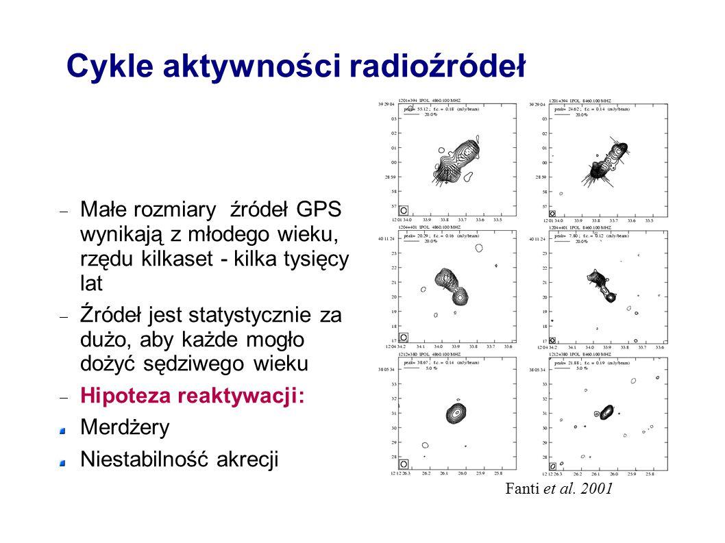 Cykle aktywności radioźródeł  Małe rozmiary źródeł GPS wynikają z młodego wieku, rzędu kilkaset - kilka tysięcy lat  Źródeł jest statystycznie za dużo, aby każde mogło dożyć sędziwego wieku  Hipoteza reaktywacji: Merdżery Niestabilność akrecji Fanti et al.