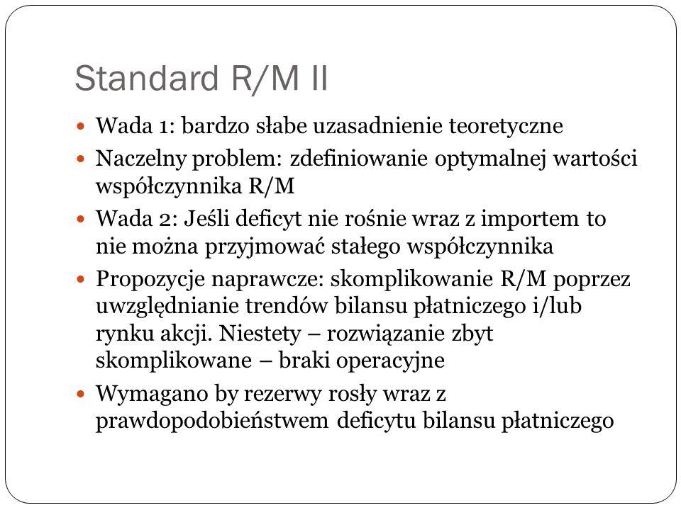 Standard R/M II Wada 1: bardzo słabe uzasadnienie teoretyczne Naczelny problem: zdefiniowanie optymalnej wartości współczynnika R/M Wada 2: Jeśli defi