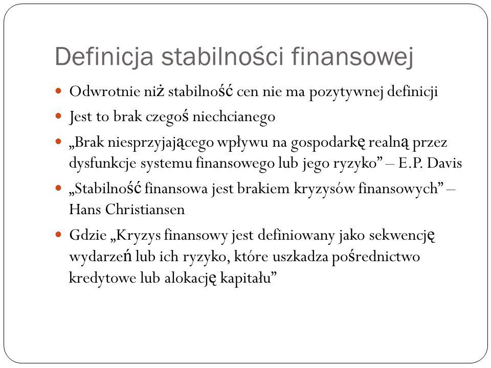 """Definicja stabilności finansowej Odwrotnie ni ż stabilno ść cen nie ma pozytywnej definicji Jest to brak czego ś niechcianego """"Brak niesprzyjaj ą cego"""