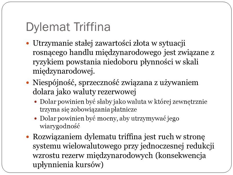 Dylemat Triffina Utrzymanie stałej zawartości złota w sytuacji rosnącego handlu międzynarodowego jest związane z ryzykiem powstania niedoboru płynności w skali międzynarodowej.