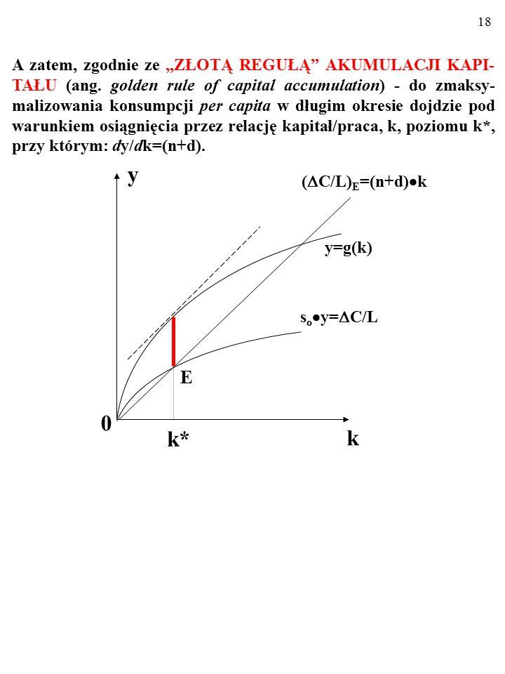 17 Taki, który zapewnia zmaksymalizowanie długości wiadomego odcinka (czyli konsumpcji per capita w momencie wejścia na ścieżkę wzrostu zrównowaonego)