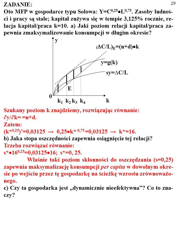 28 ZADANIE: Oto MFP w gospodarce typu Solowa: Y=C 0,25  L 0,75. Zasoby ludnoś- ci i pracy są stałe; kapitał zużywa się w tempie 3,125% rocznie, re- l