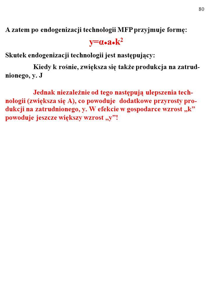 79 A=α  C/L=α  k, Do tej pory MFP miała kształt: Y=a  C, czyli także: y=a  k, natomiast po endogenizacji technologii MFP przyjmuje formę: Y = A  a  C = = α  C/L  a  C, czyli także: y = α  k  a  k = = α  a  k 2 =y.