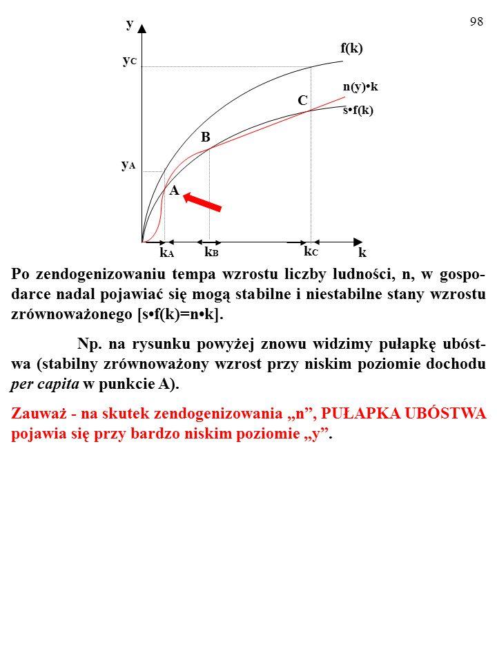97 Po zendogenizowaniu tempa wzrostu liczby ludności, n, w gospo- darce nadal pojawiać się mogą stabilne i niestabilne stany wzrostu zrównoważonego [sf(k)=nk].