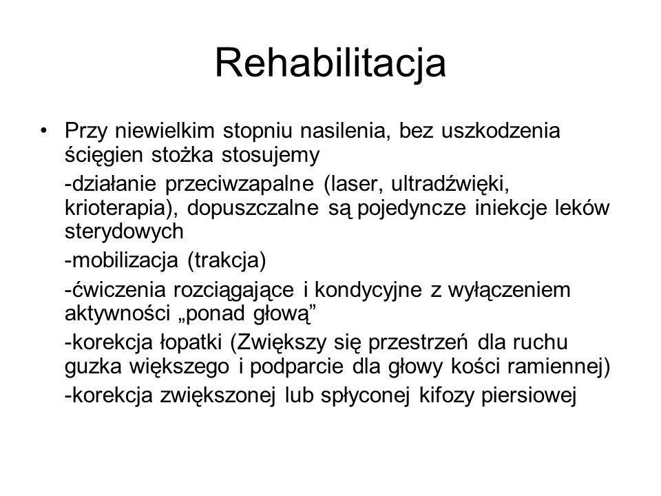 Rehabilitacja Przy niewielkim stopniu nasilenia, bez uszkodzenia ścięgien stożka stosujemy -działanie przeciwzapalne (laser, ultradźwięki, krioterapia