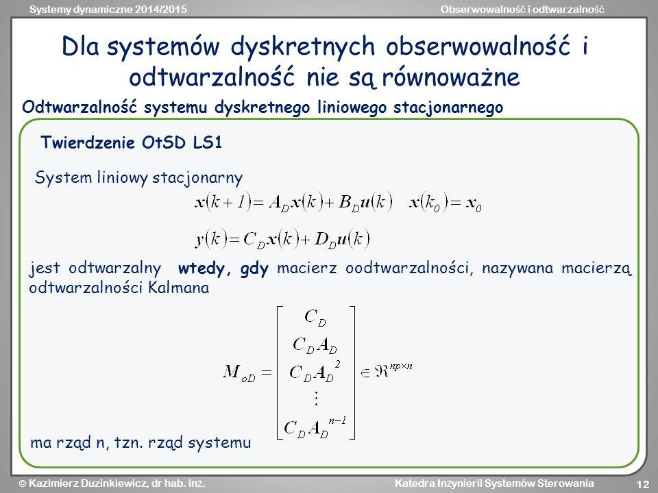 Systemy dynamiczne 2014/2015Obserwowalno ść i odtwarzalno ść  Kazimierz Duzinkiewicz, dr hab.