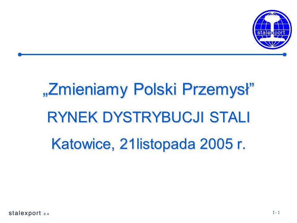 """I - 1 """"Zmieniamy Polski Przemysł RYNEK DYSTRYBUCJI STALI Katowice, 21listopada 2005 r."""