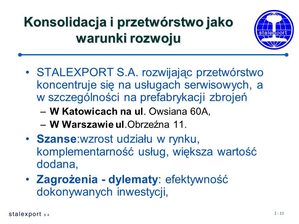 I - 10 Konsolidacja i przetwórstwo jako warunki rozwoju STALEXPORT S.A.