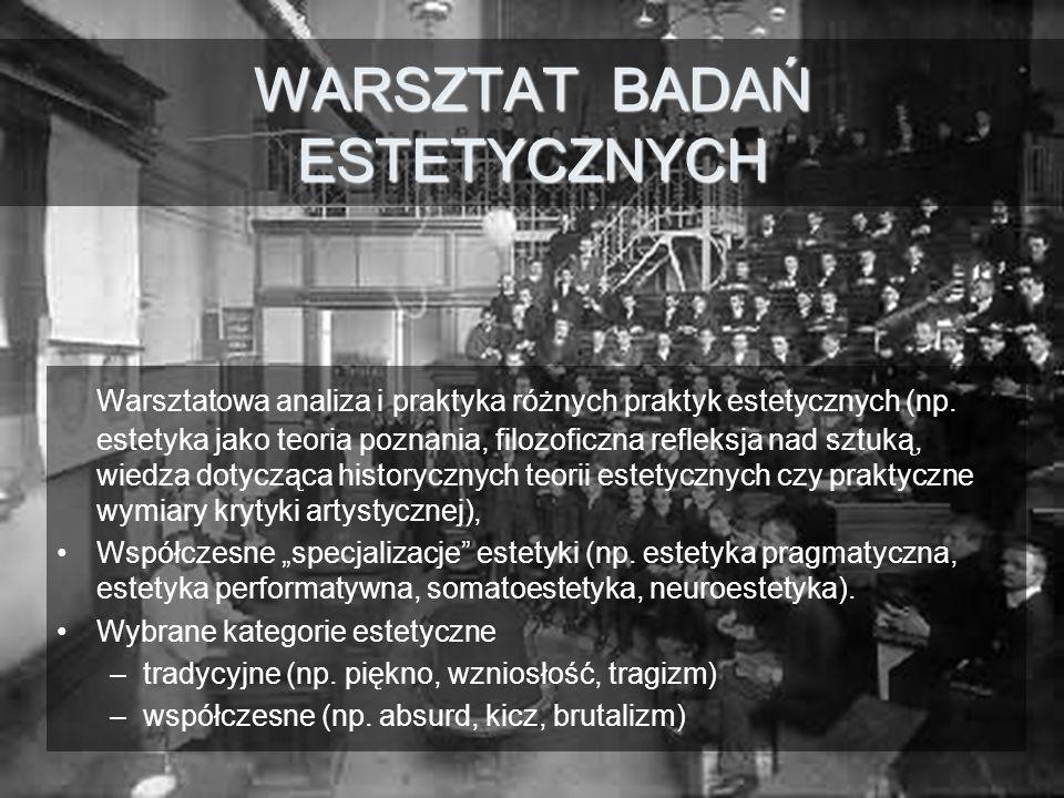WARSZTAT BADAŃ ESTETYCZNYCH Warsztatowa analiza i praktyka różnych praktyk estetycznych (np.