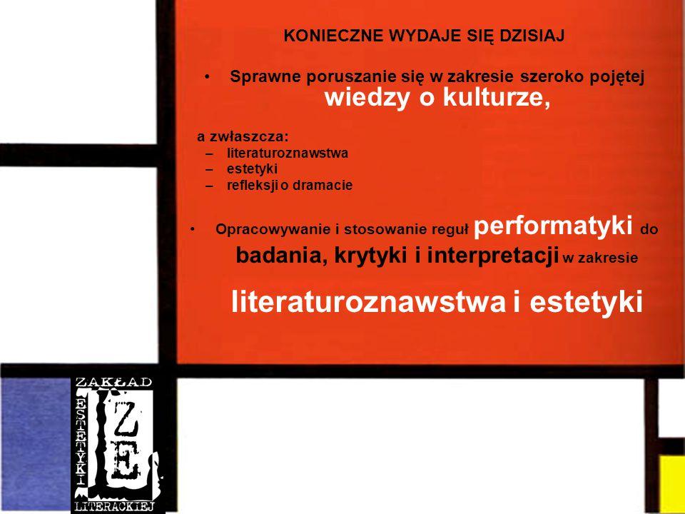 KONIECZNE WYDAJE SIĘ DZISIAJ Sprawne poruszanie się w zakresie szeroko pojętej wiedzy o kulturze, a zwłaszcza: –literaturoznawstwa –estetyki –refleksji o dramacie Opracowywanie i stosowanie reguł performatyki do badania, krytyki i interpretacji w zakresie literaturoznawstwa i estetyki