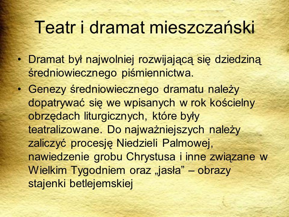 Teatr i dramat mieszczański Dramat był najwolniej rozwijającą się dziedziną średniowiecznego piśmiennictwa. Genezy średniowiecznego dramatu należy dop