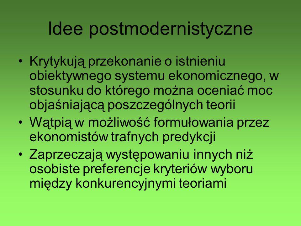 Idee postmodernistyczne Krytykują przekonanie o istnieniu obiektywnego systemu ekonomicznego, w stosunku do którego można oceniać moc objaśniającą poszczególnych teorii Wątpią w możliwość formułowania przez ekonomistów trafnych predykcji Zaprzeczają występowaniu innych niż osobiste preferencje kryteriów wyboru między konkurencyjnymi teoriami