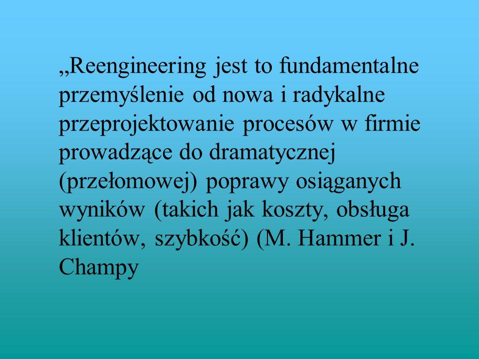 """""""Reengineering jest to fundamentalne przemyślenie od nowa i radykalne przeprojektowanie procesów w firmie prowadzące do dramatycznej (przełomowej) pop"""