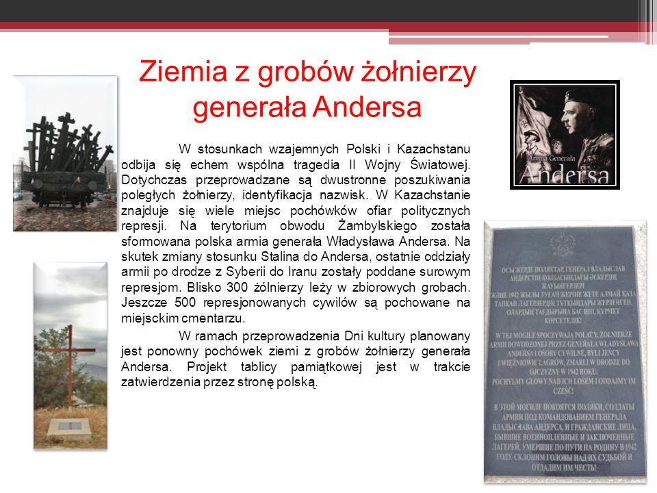 Ziemia z grobów żołnierzy generała Andersa W stosunkach wzajemnych Polski i Kazachstanu odbija się echem wspólna tragedia II Wojny Światowej.