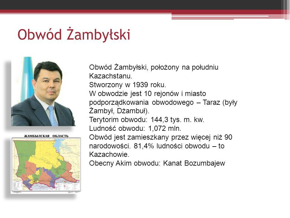 Obwód Żambyłski Obwód Żambyłski, położony na południu Kazachstanu.