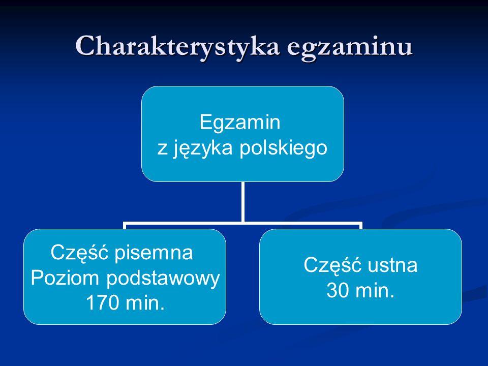 Część ustna Egzamin w tej części sprawdza umiejętność tworzenia wypowiedzi na określony temat, zgodny z zasadami poprawności językowej, logiki i retoryki.