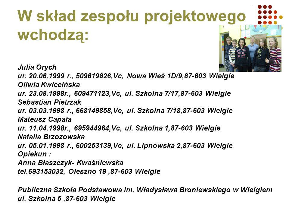W skład zespołu projektowego wchodzą: Julia Orych ur. 20.06.1999 r., 509619826,Vc, Nowa Wieś 1D/9,87-603 Wielgie Oliwia Kwiecińska ur. 23.08.1998r., 6