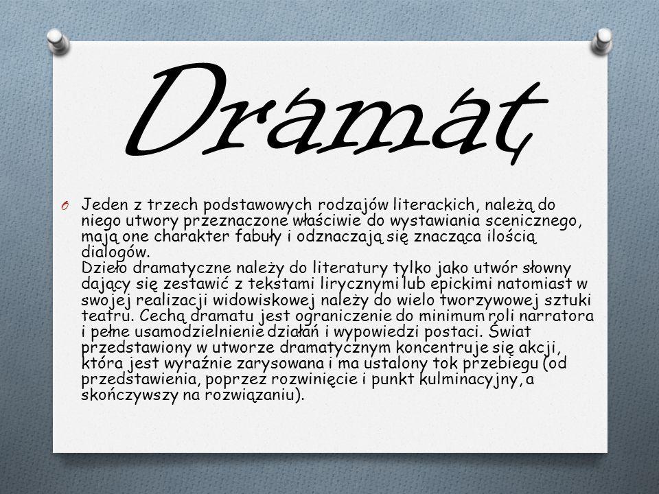 Dramat O Jeden z trzech podstawowych rodzajów literackich, należą do niego utwory przeznaczone właściwie do wystawiania scenicznego, mają one charakte