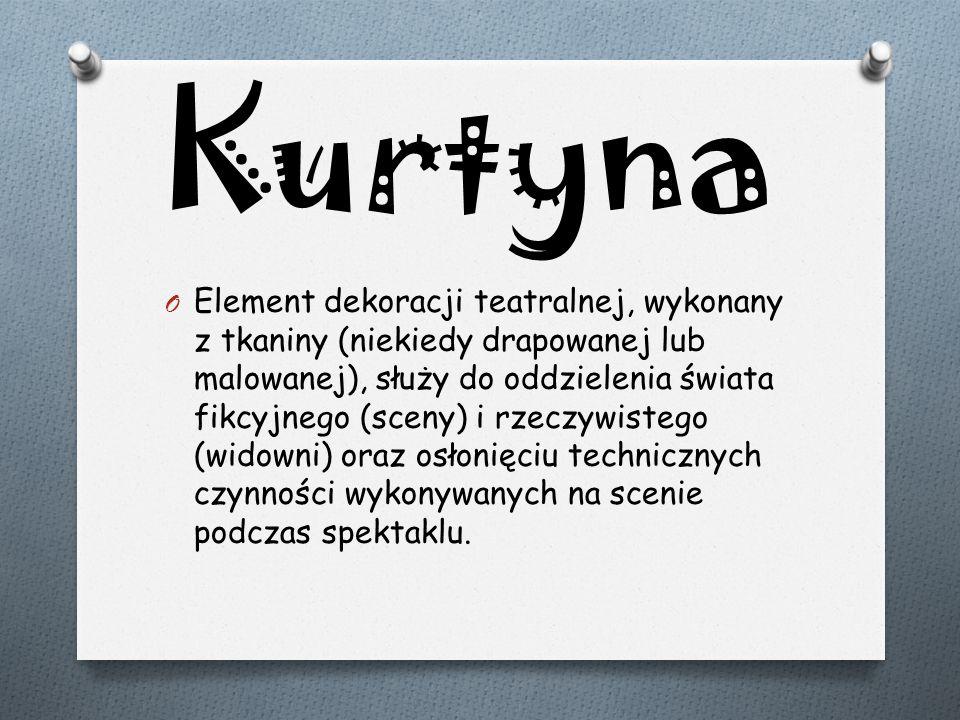 Kurtyna O Element dekoracji teatralnej, wykonany z tkaniny (niekiedy drapowanej lub malowanej), służy do oddzielenia świata fikcyjnego (sceny) i rzecz